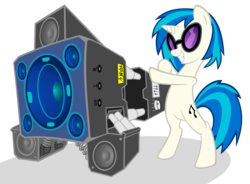 Size: 5733x4227 | Tagged: safe, artist:ninga-bob, dj pon-3, vinyl scratch, pony, unicorn, absurd resolution, bass cannon, bipedal, female, glasses, hooves, horn, mare, simple background, smiling, solo, sunglasses, teeth, transparent background, vector