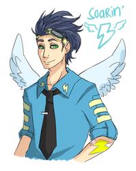 Size: 589x740 | Tagged: safe, artist:ssenarrya, soarin', clothes, humanized, uniform, winged humanization, wonderbolts dress uniform