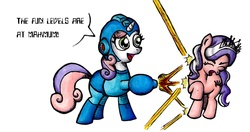 Size: 1283x679 | Tagged: safe, diamond tiara, sweetie belle, crossover, megaman, megamare, sweetie bot