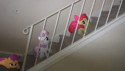 Size: 4000x2248   Tagged: safe, artist:metalgriffen69, apple bloom, scootaloo, sweetie belle, pony, cutie mark crusaders, irl, lady and the tramp, photo, ponies in real life, reference, stairs, vector