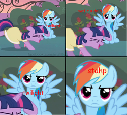 Size: 1039x938 | Tagged: comic, comic sans, funny, meme, rainbow dash, rainbow dash is not amused, safe, stahp, twilight sparkle, unamused