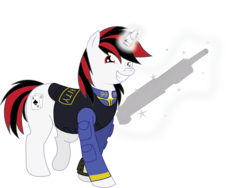 Size: 1563x1178 | Tagged: safe, artist:shamonme, oc, oc only, oc:blackjack, pony, unicorn, fallout equestria, fallout equestria: project horizons, clothes, cutie mark, fanfic, fanfic art, female, glowing horn, grin, gun, hooves, horn, levitation, magic, mare, pipbuck, security armor, shotgun, simple background, smiling, solo, teeth, telekinesis, transparent background, vault suit, weapon