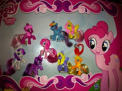 Size: 2592x1936 | Tagged: safe, applejack, cheerilee, fluttershy, lily blossom, pinkie pie, rainbow dash, rarity, twilight sparkle, collection, figure, mcdonald's happy meal toys