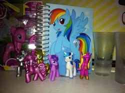 Size: 2592x1936 | Tagged: safe, applejack, pinkie pie, princess cadance, rainbow dash, rarity, shining armor, twilight sparkle, blind bag, collection, figure, irl, notebook, photo, toy