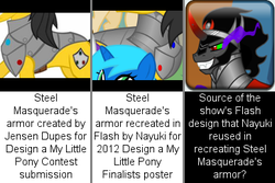 Size: 387x258 | Tagged: safe, king sombra, spoiler:s03, armor, comparison, steel masquerade