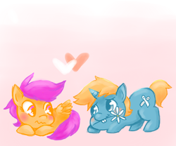 Size: 900x750 | Tagged: artist:marie-ah, female, male, safe, scootaloo, scootasnips, shipping, snips, straight