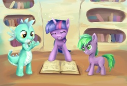 Size: 800x543 | Tagged: safe, artist:vapgames, lyra heartstrings, spike, twilight sparkle, dragon, book, dragonified, golden oaks library, library, ponified, ponified spike, species swap