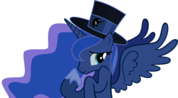 Size: 3618x1994 | Tagged: artist:theonewiththeoctaves, hat, princess luna, safe, simple background, solo, top hat