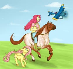 Size: 2336x2199 | Tagged: safe, artist:cartoonlion, fluttershy, pinkie pie, rainbow dash, oc, oc:futashy, horse, futaverse, commission, futa, futa fluttershy, high res, humanized, humans riding horses, intersex, plane