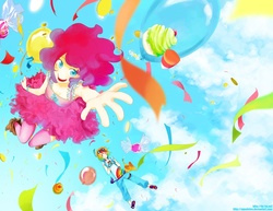 Size: 1148x888 | Tagged: safe, artist:aquafeles, pinkie pie, rainbow dash, action pose, balloon, candy, clothes, cloud, cloudy, confetti, cupcake, falling, fingerless gloves, food, gloves, goggles, humanized, suspenders