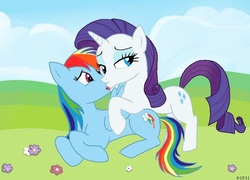 Size: 932x671 | Tagged: safe, artist:bondageart78, rainbow dash, rarity, female, kissing, lesbian, raridash, shipping