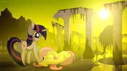 Size: 1920x1080   Tagged: safe, artist:gign-3208, fluttershy, twilight sparkle, ruins, scenery, swamp