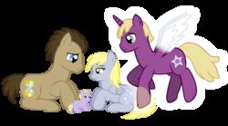 Size: 3008x1676   Tagged: safe, artist:ludiculouspegasus, derpy hooves, dinky hooves, doctor whooves, time turner, oc, oc:silver star, pegasus, pony, cute, daaaaaaaaaaaw, equestria's best mother, female, foal, mare