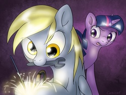 Size: 1600x1200   Tagged: safe, artist:conicer, derpy hooves, twilight sparkle, pegasus, pony, female, g4, mare, mouth hold, welding, wrench