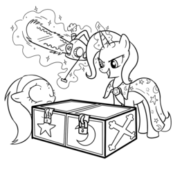 Size: 1000x1000   Tagged: safe, artist:madmax, trixie, pony, unicorn, black and white, box, box sawing trick, chainsaw, grayscale, magic trick, mare, monochrome, scared, simple background, spa pony, this will end in tears and/or death, white background, wide eyes