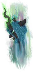 Size: 600x1300 | Tagged: dead source, safe, artist:xieril, queen chrysalis, changeling, changeling queen, bust, fangs, female, frown, glowing horn, smiling, solo