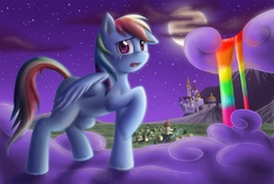 Size: 1000x672 | Tagged: safe, artist:anadukune, rainbow dash, pegasus, pony, canterlot, cloud, cloudy, crying, female, full moon, hooves, i'm not cute, mare, moon, night, night sky, on a cloud, open mouth, ponyville, rainbow, rainbow fall, rainbow waterfall, raised hoof, sky, solo, standing on cloud, stars, story in the comments, teeth, waterfall, wings