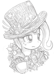 Size: 600x800 | Tagged: artist:saturnspace, female, hat, mare, monochrome, pony, safe, solo, steampunk, top hat, trixie, unicorn
