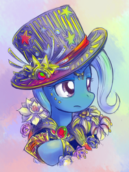 Size: 600x800 | Tagged: artist:saturnspace, female, hat, mare, pony, safe, solo, steampunk, top hat, trixie, unicorn
