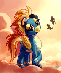 Size: 776x926 | Tagged: safe, artist:whitediamonds, spitfire, pegasus, pony, clothes, cloud, cloudy, cutefire, female, flying, looking at you, mare, uniform, wonderbolts uniform