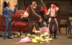 Size: 1600x1000 | Tagged: artist:ragepanddemoman, crossover, fluttershy, gmod, safe, team fortress 2