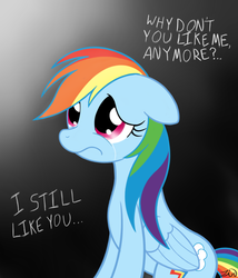 Size: 1371x1600 | Tagged: artist:zirbronium, crying, dead source, frown, rainbow dash, rejection, sad, safe, solo