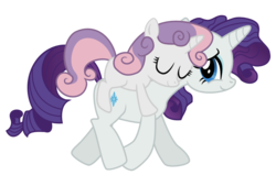 Size: 1100x700 | Tagged: artist:arteenesben, ponies riding ponies, rarity, riding, safe, simple background, sweetie belle, transparent background, vector