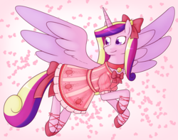 Size: 1514x1195 | Tagged: safe, artist:redintravenous, princess cadance, alicorn, pony, bow, clothes, collar, colored wings, colored wingtips, dress, female, hair bow, hoof shoes, looking back, mare, solo, tail bow