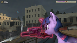 Size: 2880x1620 | Tagged: 3d, artist:chaotrix, derpy hooves, female, gun, mare, pegasus, pony, rainbow dash, rifle, safe, sniper rifle, source filmmaker, team fortress 2, twilight sparkle, weapon