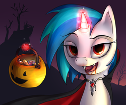 Size: 2000x1669 | Tagged: dead source, safe, artist:dazko, dj pon-3, vinyl scratch, pony, unicorn, vampire, vampony, bedroom eyes, blood, candy, cape, clothes, costume, fake blood, fangs, female, glowing horn, halloween, horn, kitchen eyes, levitation, licking lips, looking at you, magic, mare, night, nightmare night, open mouth, pumpkin bucket, red eyes, ruby, solo, telekinesis, trick or treat, vinyl the vampire