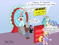 Size: 900x675 | Tagged: dead source, source needed, safe, artist:sketchinetch, princess celestia, human, pony, astronaut, count von count, crossover, dialogue, jerry nelson, neil armstrong, phyllis diller, portal, puppet, sesame street, speech bubble