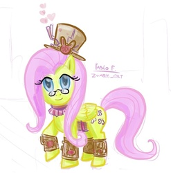 Size: 602x610 | Tagged: artist:php13, bracelet, female, fluttershy, glasses, hat, jewelry, mare, pegasus, pony, safe, simple background, solo, steampunk, top hat, white background