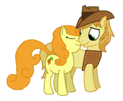 Size: 849x698 | Tagged: safe, artist:soup, braeburn, carrot top, golden harvest, carrotburn, female, male, shipping, straight