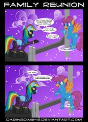 Size: 2000x2775 | Tagged: safe, artist:daringdashie, rainbow dash, scootaloo, pegasus, pony, amputee, butt, clothes, comic, costume, female, high res, luke i am your father, mare, parody, plot, shadowbolt dash, shadowbolts, shadowbolts costume, star wars, uniform, wonderbolts, wonderbolts uniform