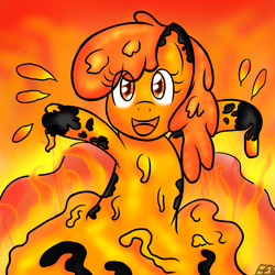 Size: 900x900 | Tagged: safe, artist:freefraq, oc, oc only, goo pony, monster pony, original species, cute, happy, lava, lava bathing, lava pony, looking at you, monster, obsidian, open mouth, smiling