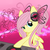 Size: 550x550 | Tagged: artist:oathkeeper21, butterfly, disc jockey, fluttershy, headphones, pegasus, pink background, pony, safe, simple background, solo, turntable