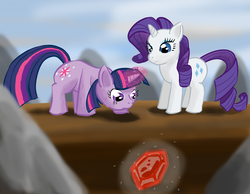 Size: 3600x2800 | Tagged: safe, artist:renigami, rarity, twilight sparkle, gem, high res