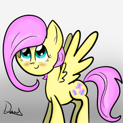 Size: 1000x1000 | Tagged: safe, artist:masterpeanut94, fluttershy, alternate hairstyle, blushing, haircut