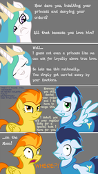 Size: 725x1280 | Tagged: safe, artist:taharon, princess celestia, soarin', spitfire, comic:the wonderbolts, comic, eyes closed, female, floppy ears, frown, grin, male, open mouth, shipping, shocked, smiling, soarinfire, spread wings, straight, to the moon, wide eyes