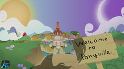 Size: 1920x1080 | Tagged: artist:tealdragon44, crescent moon, moon, no pony, offscreen character, ponyville, ponyville town hall, road sign, safe, shadow, sun