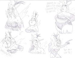 Size: 3294x2550 | Tagged: safe, artist:catstuxedo, queen chrysalis, bbw, burp, changeling feeding, expressions, fat, high res, humanized, kitchen eyes, queen chrysalard, sketch