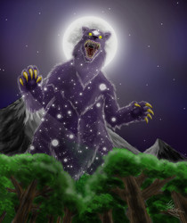 Size: 1700x2028 | Tagged: artifact, artist:virus-91, forest, moon, mountain, no pony, open mouth, safe, solo, ursa major, worm's eye view