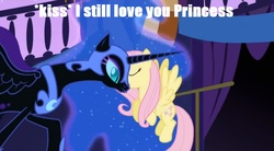 Size: 850x470 | Tagged: caption, edit, edited screencap, female, fluttermoon, fluttershy, kissing, lesbian, nightmare moon, safe, screencap, shipping, smooch
