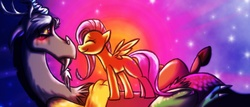 Size: 908x388 | Tagged: artist:geckofly, discord, discoshy, female, fluttershy, male, safe, shipping, straight