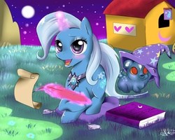 Size: 2000x1600 | Tagged: safe, artist:daughter-of-fantasy, trixie, ursa minor, book, happy, quill, scroll, trixie's wagon, wagon