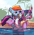 Size: 1200x1245 | Tagged: safe, artist:atryl, rainbow dash, twilight sparkle, anthro, pony, unicorn, anthro with ponies, blowing, cute, floaty, inflatable, inner tube, rainblow dash, snorkel, swimming pool, twiabetes, unicorn twilight, water wings, whistle