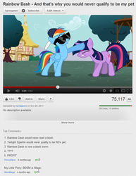 Size: 673x873 | Tagged: safe, screencap, rainbow dash, twilight sparkle, may the best pet win, backwards ballcap, baseball cap, cap, duo, hat, kyrospawn, noogie, sunglasses, whistle, youtube, youtube comments