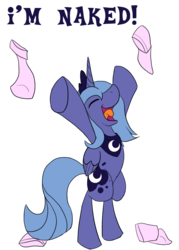 Size: 1000x1400 | Tagged: safe, artist:sc0t1n4t0r, princess luna, alicorn, pony, bipedal, clothes, nudity, s1 luna, simple background, socks, solo, we don't normally wear clothes
