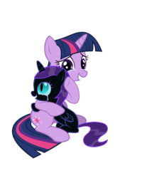 Size: 6000x7500 | Tagged: safe, artist:azure-vortex, twilight sparkle, oc, oc:nyx, fanfic:past sins, absurd resolution, adventure in the comments, crying, cute, daaaaaaaaaaaw, filly, grin, hug, mama twilight, mother and daughter, nyxabetes, simple background, sitting, smiling, tears of joy, transparent background, twiabetes, vector