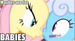Size: 856x472 | Tagged: safe, screencap, fluttershy, linky, shoeshine, earth pony, pegasus, pony, putting your hoof down, background pony, caption, female, hub logo, image macro, impact font, mare, maybes are for babies, quote, roflbot, text